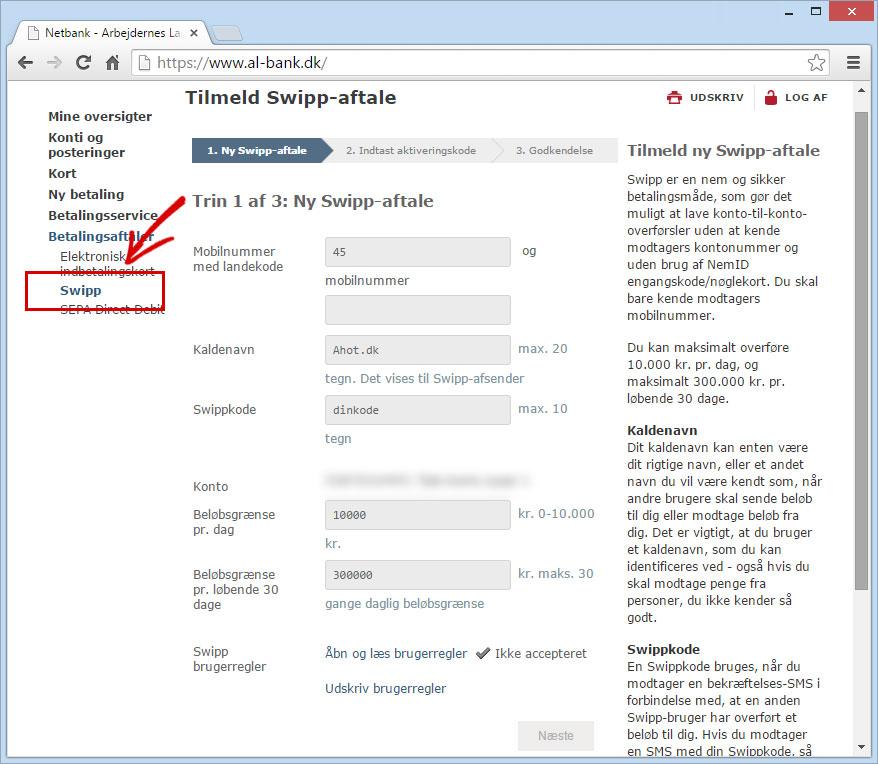 Tilmelding til Swipp på netbank
