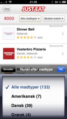 Just-Eat menukort
