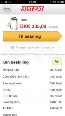 Ved bestilling på Just-Eat.dk