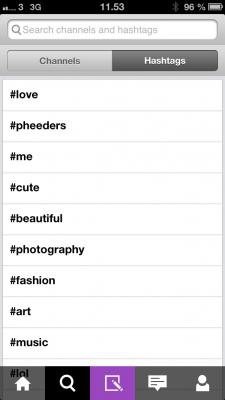 Hashtags på Pheed