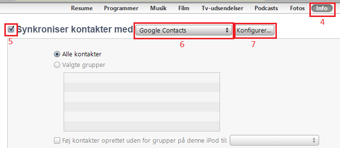 iTunes Google Contact synkronisering